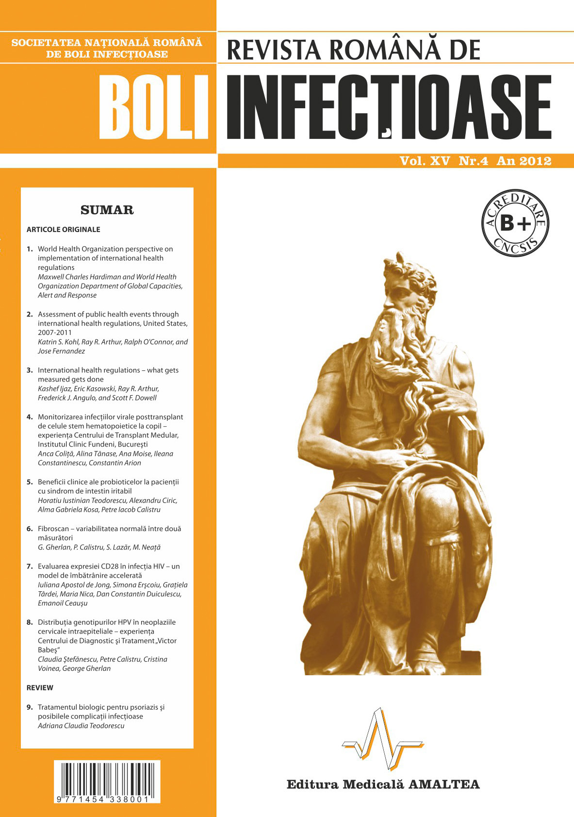 Revista Romana de Boli Infectioase | Vol. XV, No. 4, 2012