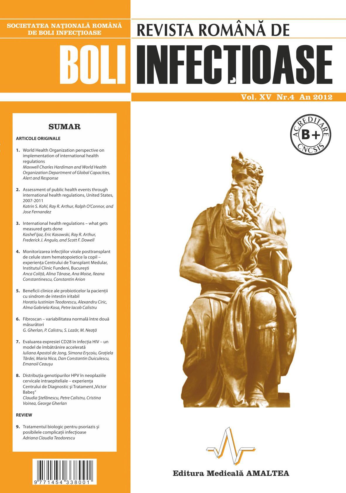 Revista Romana de Boli Infectioase | Vol. XV, No. 4, 2012