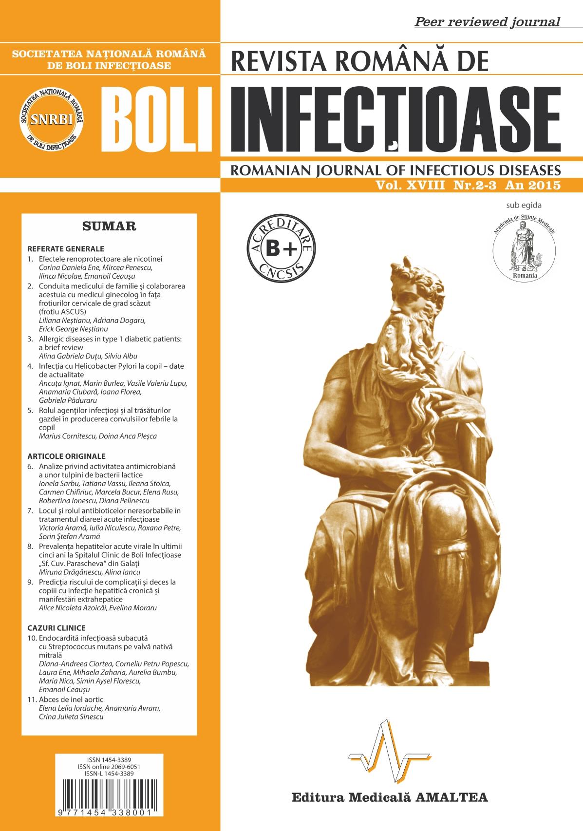 Revista Romana de Boli Infectioase | Vol. XVIII, No. 2-3, 2015
