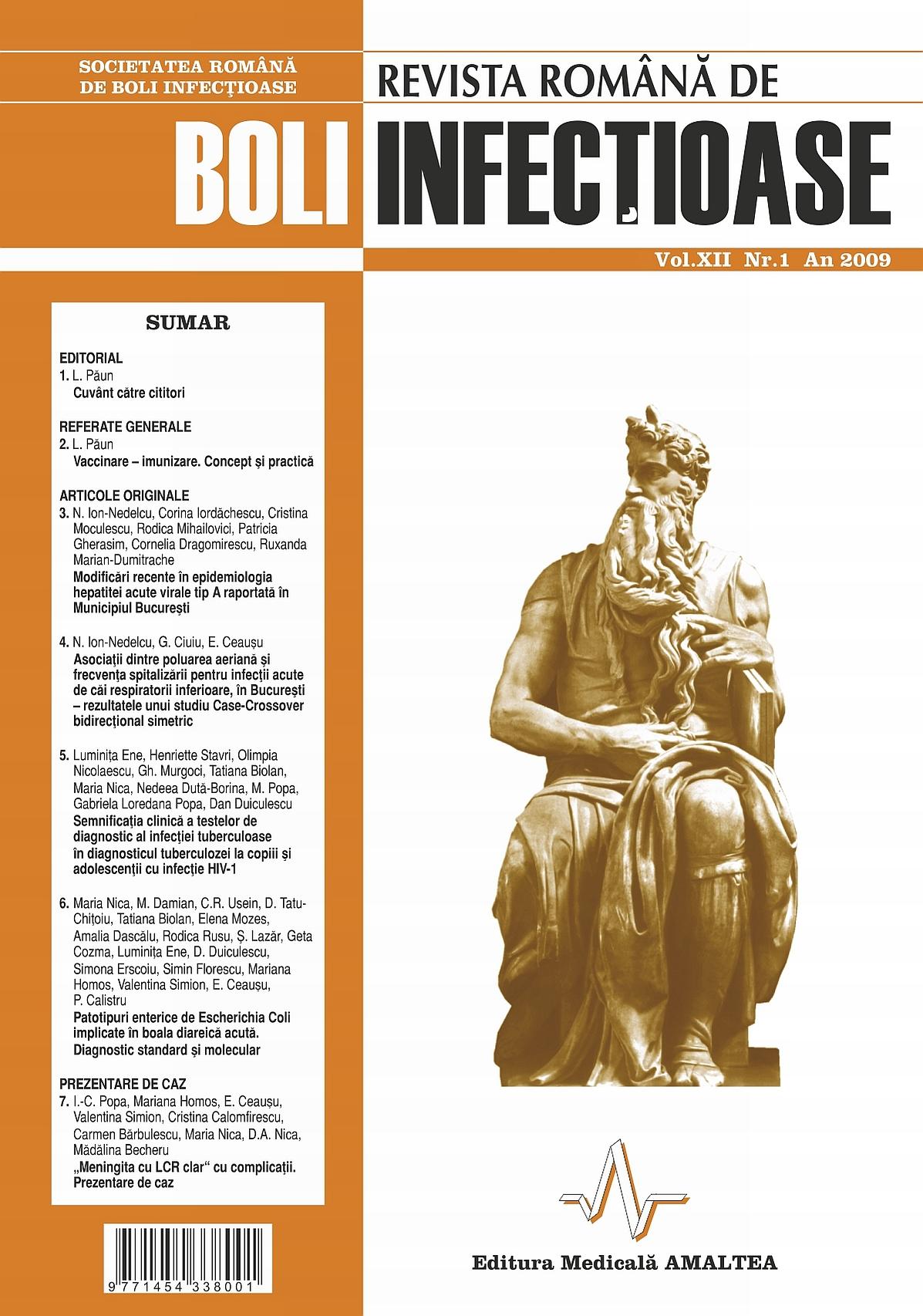Revista Romana de Boli Infectioase | Vol. XII, No. 1, 2009